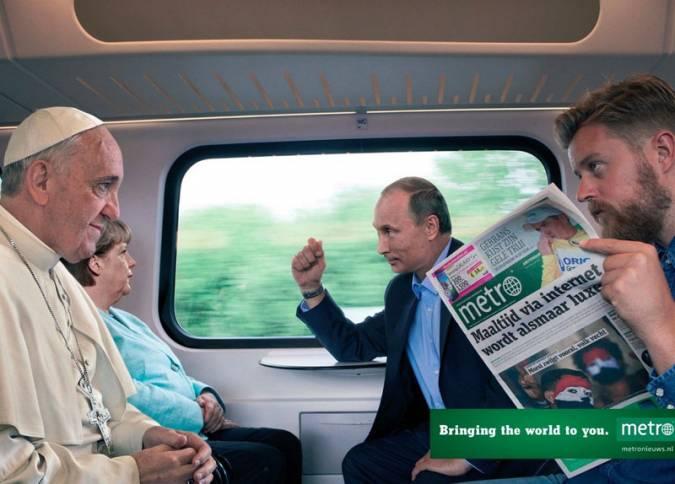 Политики в рекламной компании газеты Metro
